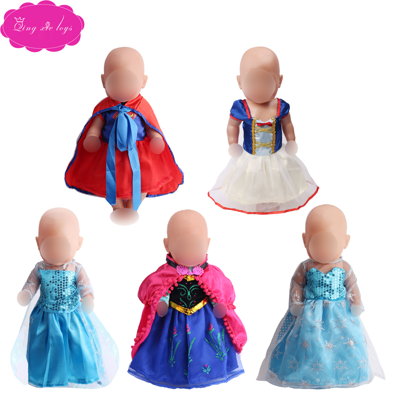 Doll Clothes Girl Role Play Outfit Anna Aisha Snow White Princess Dress Fit 43 Cm Doll And 18 Inch Girl Dolls Accessories F41