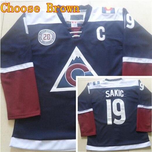 colorado avalanche joe sakic jerseys 19 blue red white camo color ice hockey .