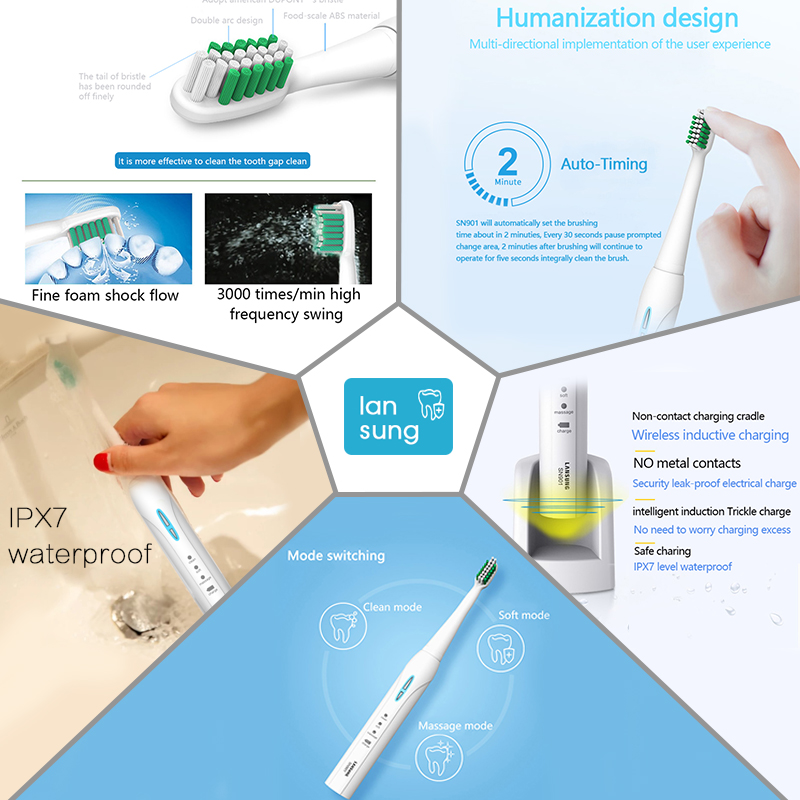 Image 2 - LANSUNG Sonic Electric Toothbrush Ultrasonic toothbrush oral hygiene sonic toothbrushes electric tooth brush SN901 dental care 5-in Electric Toothbrushes from Home Appliances