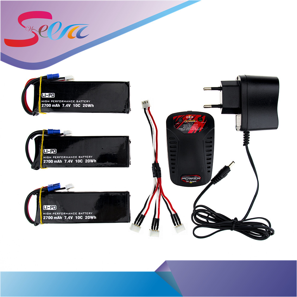 3pcs/Lot 10C Lipo Battery 7.4V 2700mAh Batteies with Charger for Hubsan H501C H501S X4 RC Quadcopter Airplane Drone Spare Parts h501s lipo battery 7 4v 2700mah 10c batteies 3pcs for hubsan h501c rc quadcopter airplane drone spare parts