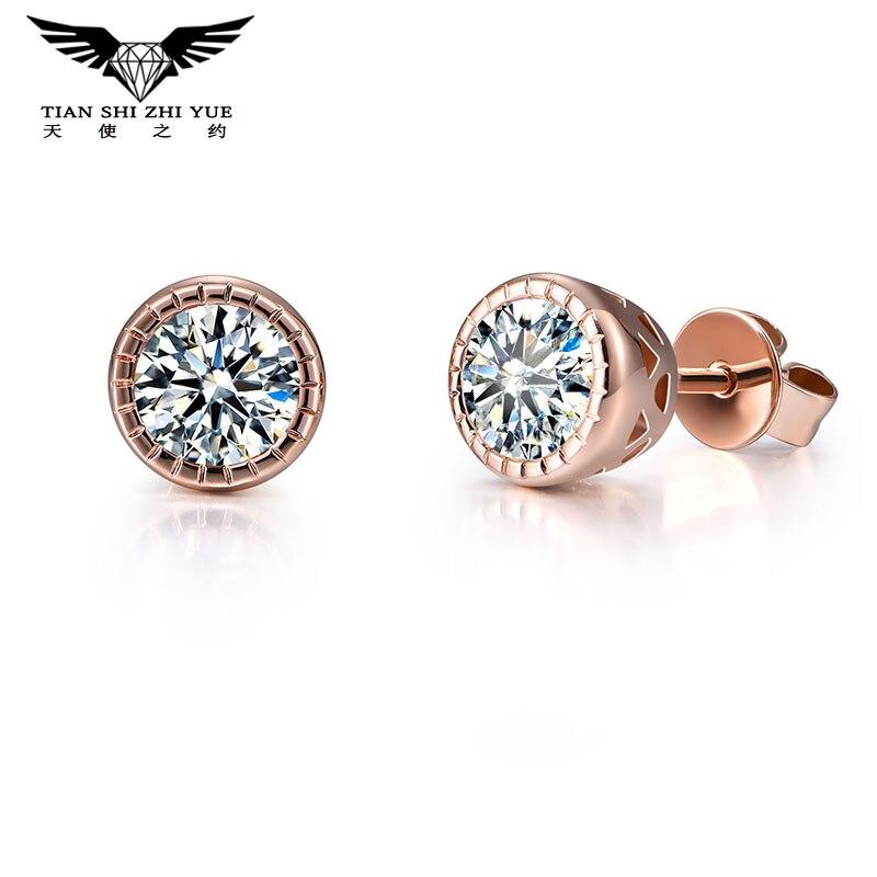 14 К розовое золото Стад муасси серьги moissanites diamond