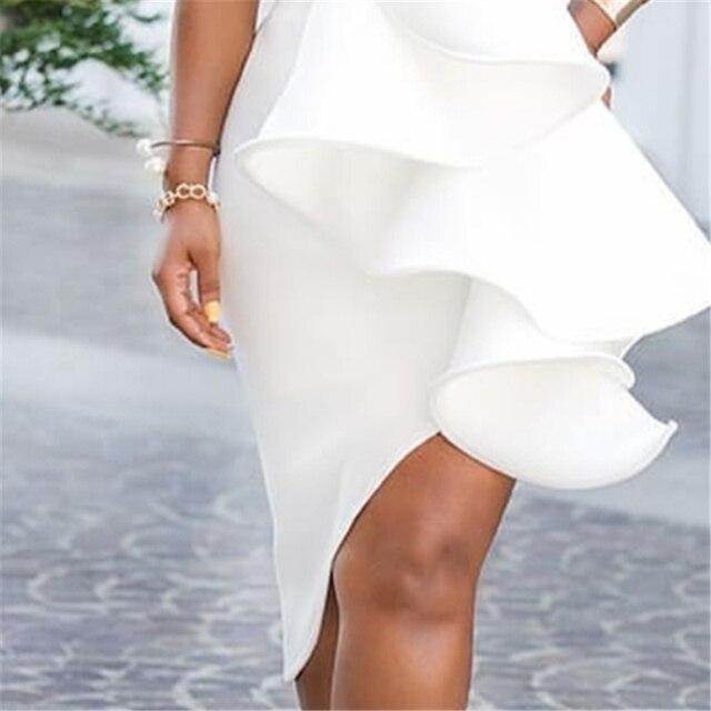 White Evening One Shoulder Ruffles Dress 4