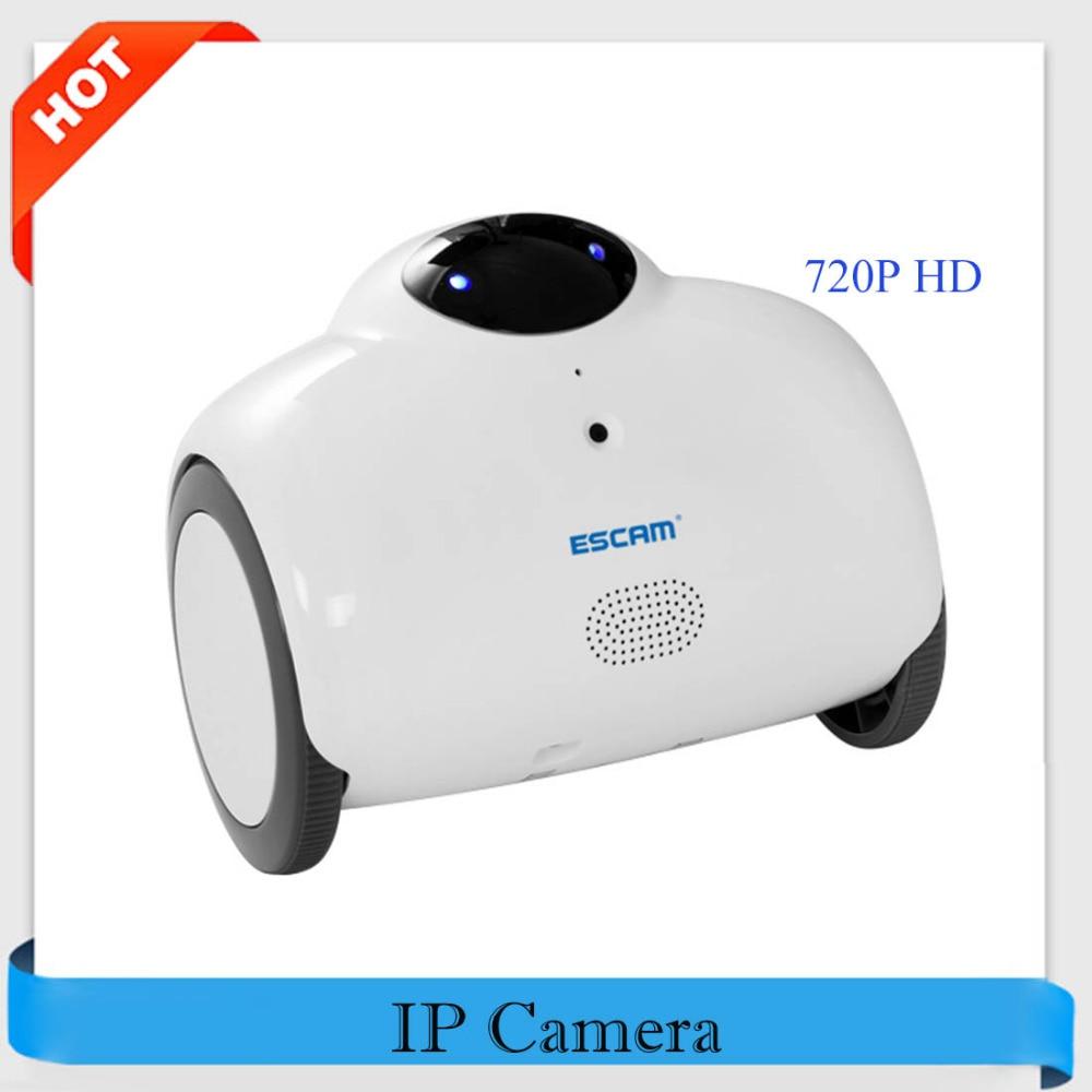 ESCAM Robot QN02 HD 720P WiFi Mini IP Camera Smart WebCam Two-way Talk Tone Modification Remote Control Wireless IP Camera escam hd 720p mega pixels ip camera app remote control wifi camera