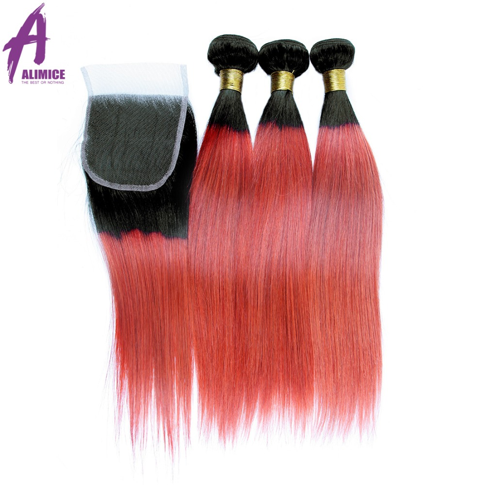 Alimice Ombre Bundles With Closure Brazilian Straight Hair 3 Bundles With Lace Closure 1B Light Pink