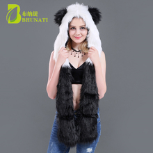 New winter Panda Faux Fur Hood With Scarf Gloves Animal Hoods Hat Cute animal Faux Fur Hat Cap Beanies Cartoon Wolf Hat