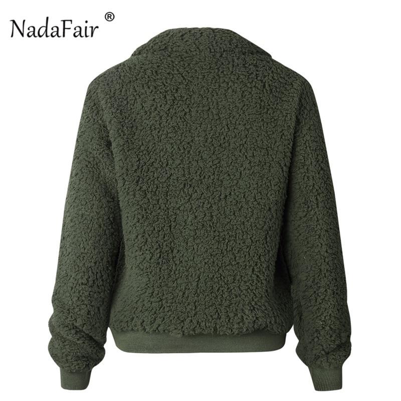 Nadafair Faux Fur Coat Women Autumn Winter Fluffy Teddy Jacket Coat Plus Size Long Sleeve Outerwear Turn Down Short Coat Female 21