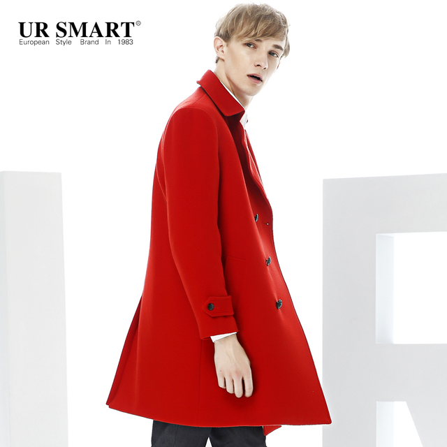 870dd0df186 URSMART wool coat the doubles the double-breasted coat of red men grow a new  winter coat quality goods woolen cloth