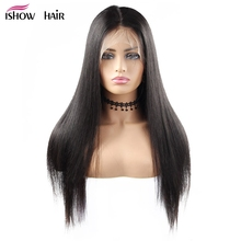 4x4 Lace Front Human Hair Wigs Brazilian Straight Lace Front Wig Pre Plucked Ishow Remy Hair 250 Density Lace Wig With Baby Hair