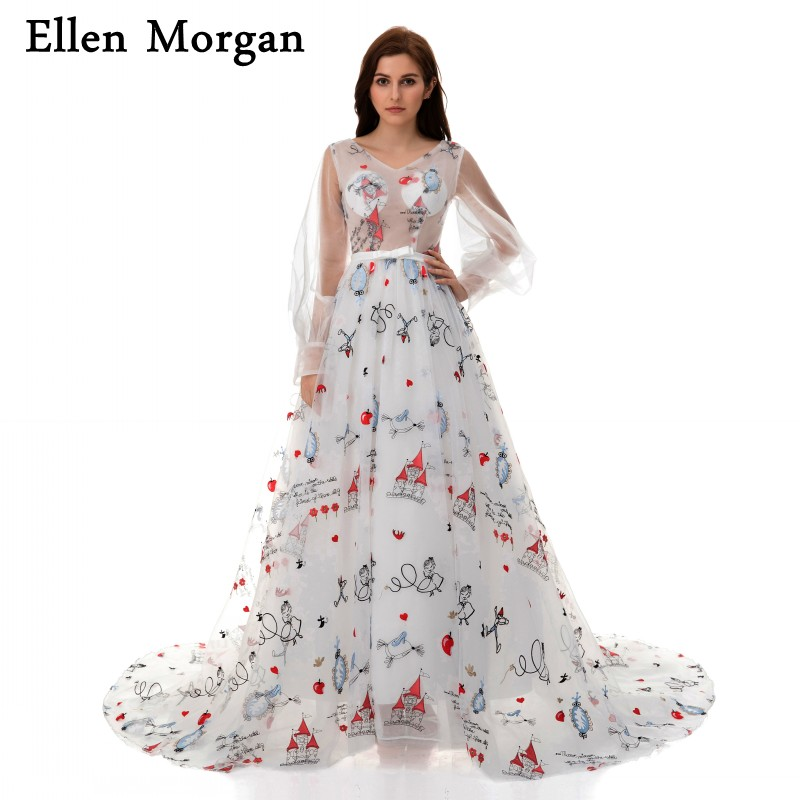 Pattern Print Ball Gowns Prom Dresses 2018 V Neck Long Sleeve Lace ...