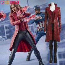 Косплей ONSEN костюм Ванды Скарлет ведьма косплей наряд Капитан Америка Гражданская война женщины Хэллоуин красный костюмы