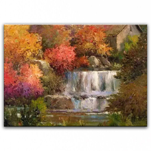 100% hand painted oil painting Home decoration high quality landscape knife painting pictures     DM16072106