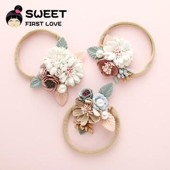 Cute Girls Flower Nylon Headband Baby Accessories Pearl Headbands Wholesale Princess Elastic Hairband For Kids Hair