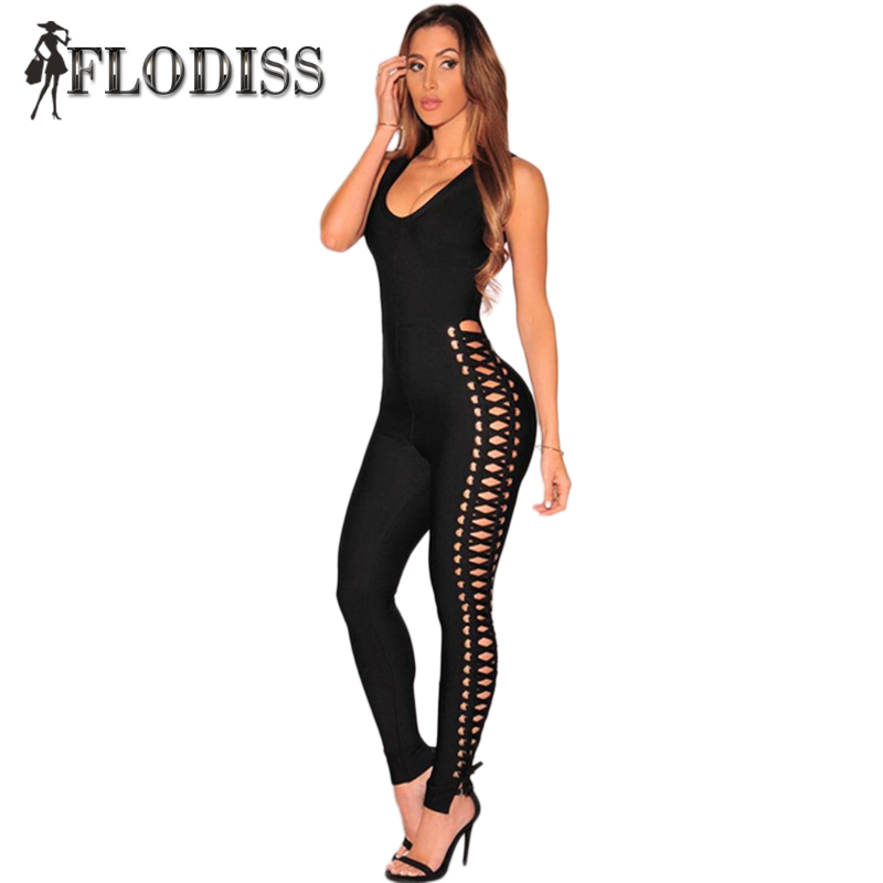 Side Eyelet Lace Up Sleeveless O Neck Sexy Club Rompers 2017 New Spring Fashion Bodycon Women Jumpsuit Black Party Cool Overalls