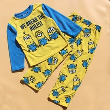 Children pajamas kids minions long sleeve pajamas set kids fleece sleepwear T shirt pants 2pcs kids