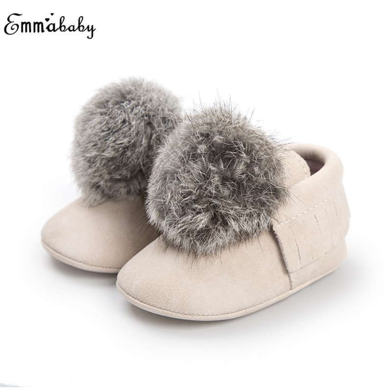 Fashion Baby Infant Girls Shoes Faux Fur Pom Winter Boots Toddler Soft Crib Shoes Sneakers