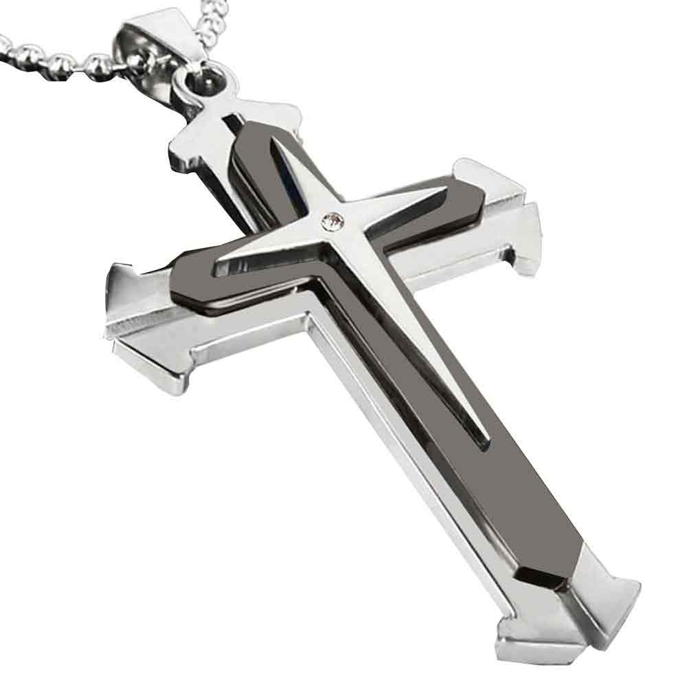 Stainless Steel Zirconia Jesus Cross Pendant Necklace
