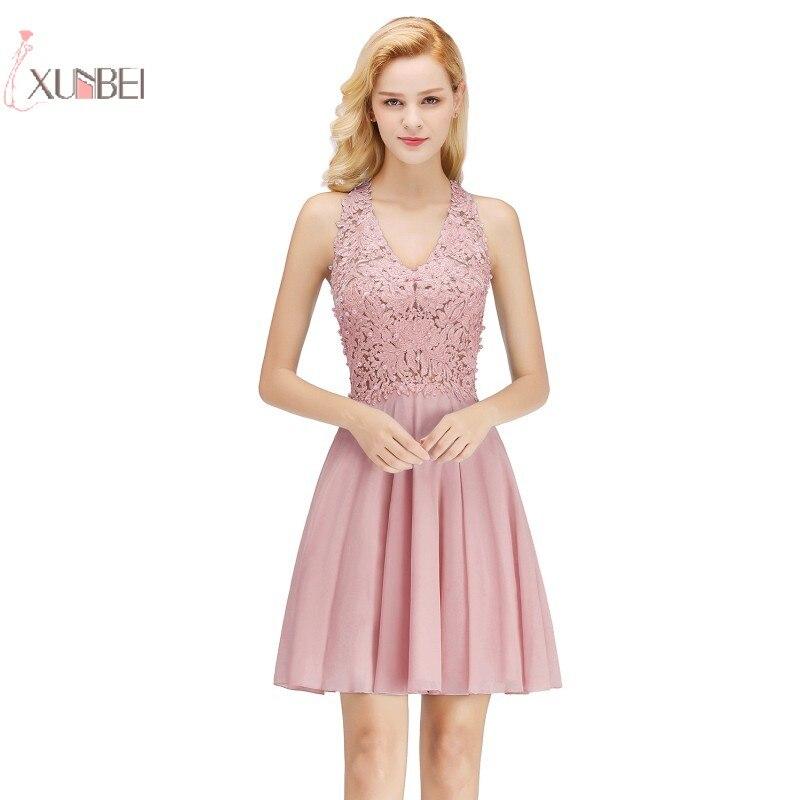 2019 Sexy Pink Red Burgundy Chiffon Short   Prom     Dresses   V Neck Applique Pearl   Prom   Gown vestido de festa gala jurken