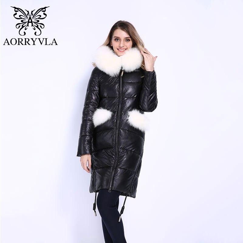 AORRYVLA Épais D'hiver de 2018 Nouvelles Femmes De Mode Plein Manches Réel Fourrure De Renard À Capuchon Long Manteau Femelle PU Vestes En Cuir bonne Qualité