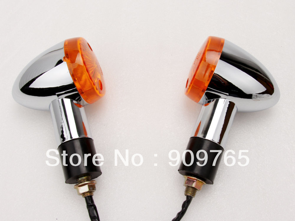Chrome Amber Turn Signals Lights For Harley Dyna Softail Sportster V-Rod Kawasaki Vulcan VN 500 750 800 1500 Honda Shadow Aero