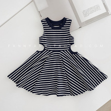 2019 Girls Baby Dress Summer Small Sexy Striped Skirt Maxi Children Clothing 1-3 Year Old Vest Dresses