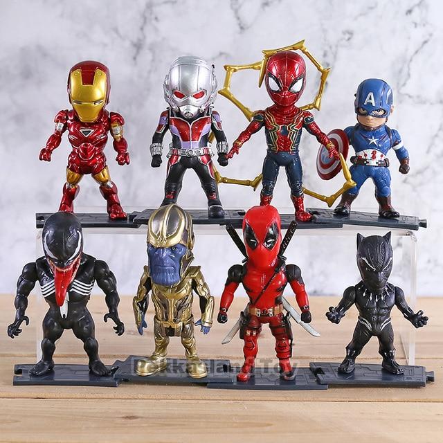 Deadpool Pantera Negra Thanos maravilha Capitão América Homem De Ferro Homem Aranha Veneno PVC Figuras Brinquedos Decoração Do Carro Bonecas 8 pçs/set