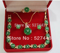 FREE SHIPPING Wholesale Real nature green jade necklace bracelet earring ring Natural jewelry