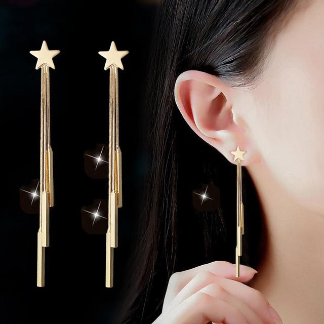 Fancy&Fantasy Fashion Long Tassel Earing for Women Gold & Silver Color Star Earr