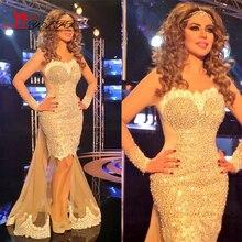 2017 Myriam Fares Pageant Kleid Sheer Besatzung Sexy Illusion Langarm Abendkleid Meerjungfrau Spitze Abendkleider mit Abnehmbaren Schwanz
