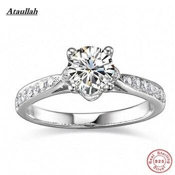 c757ae1da80d Ataullah de lujo de 1 quilate 925 de plata esterlina SONA anillo anillos de  compromiso para mujer anillos de boda RWD033