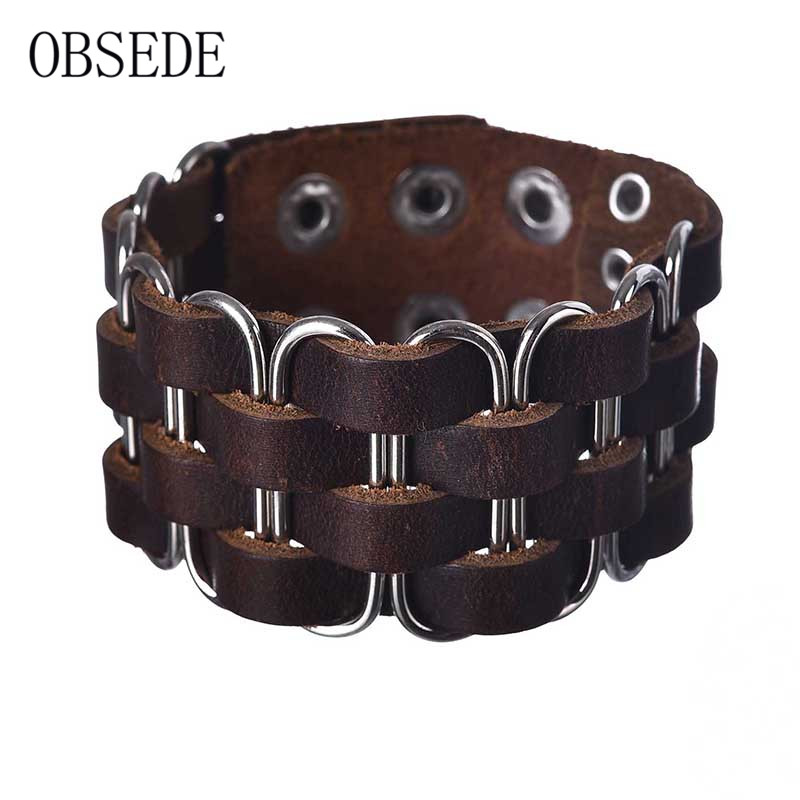 OBSEDE New Fashion Geometry Brown Braided Leather Bracelet Men Vintage Wide Cuff Rope Bracelets & Bangles Wristband Punk Jewelry