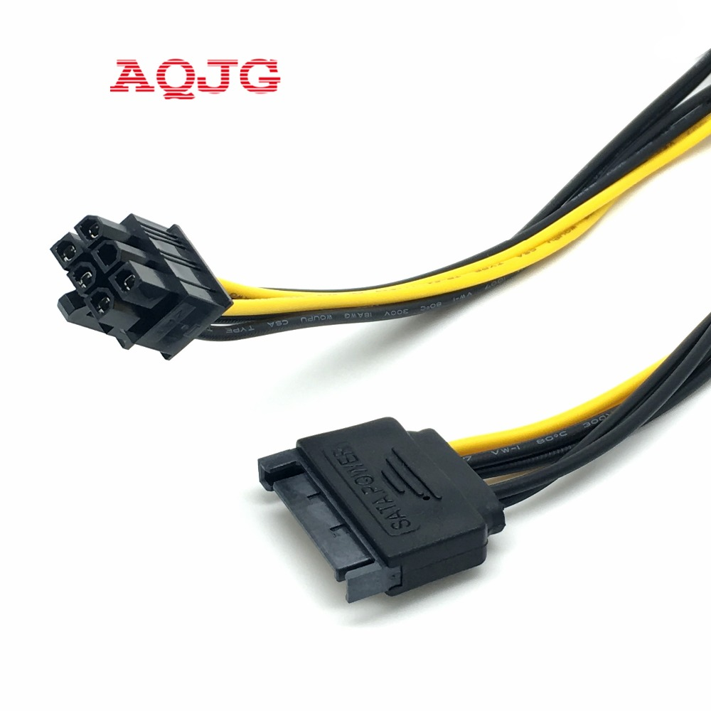 все цены на 15pin SATA Power to 6pin PCI-E PCI Express Adapter Cable Video Card AC Wholesale  SATA 15pin male to 6pin PCI Express Card Power