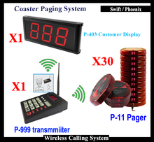 Electronic Queue Management Calling System With Coaster Pager And Menu Display And Transmitter Keypad