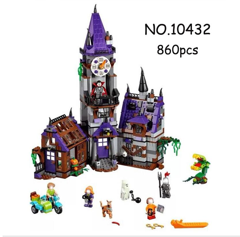 10432 Scooby Doo Mystery Castle Courtyard Mansion Model Building Blocks Sets Bricks 75904 Figure Kid Educational Toys Gift bela 10432 compatible with lego 75904 scooby doo figures mystery mansion model building blocks educational toys for children