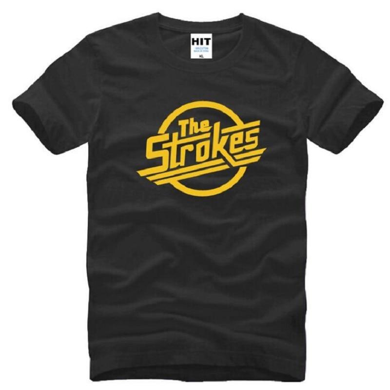Indie T Shirt Design | New Designer The Strokes T Shirts Men Cotton Short Sleeve Indie Rock