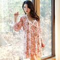 2 Piece Set Sleepwear Cute Floral Gown Garden Style Robe & Gown Sets Women Robe Set Sexy Pajamas Dress Pink&Green available