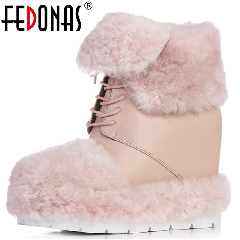 FEDONAS New Women Genuine Leather Ankle Boots Warm Winter Snow Boots Lace Up Fashion Cute Casual Shoes Woman Short Basic Boots fedonas new fashion women genuine leather winter warm wool snow boots women ladies flats heels comfortable casual shoes woman