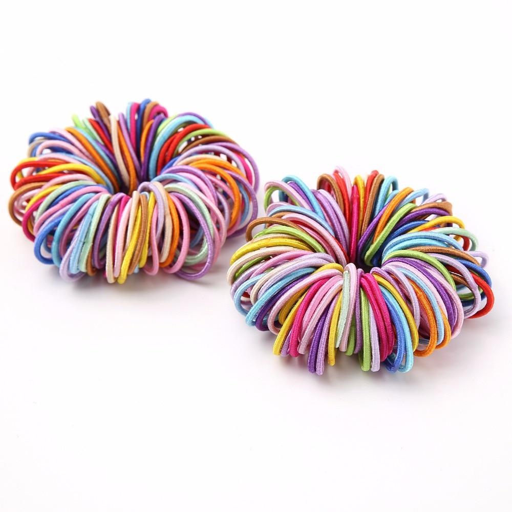 AKWZMLY 100 шт. яркие карамельный цвет эластичные резинки для волос Chirldren маленькие однотонные аксессуары для волос обувь девочек Дети DIY резин