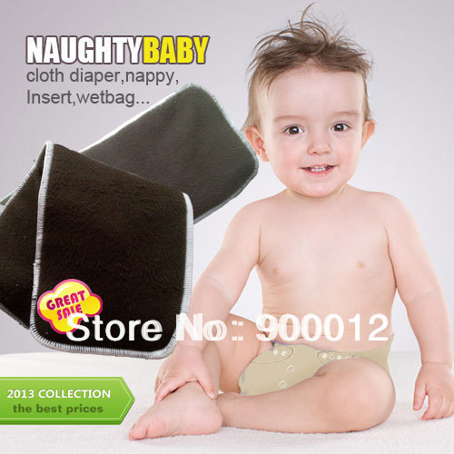 Free Shipping Naughty Baby Black Charcoal Bamboo 50pcs 4 Layers 2 2 Washable Baby Cloth Diaper