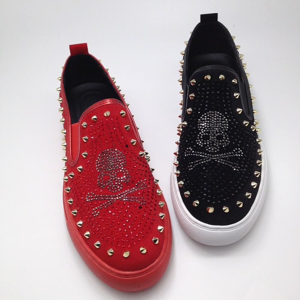 Chaussures Rivets Noir Rouge 20d50 Pointes Crâne Sur Strass Mocassins Slip Bling Hommes Pour Plates Baskets Décontracté red Black HzwP4nq