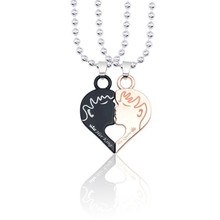 Love Heart Puzzle Her King His Queen Crown Pendant Couple Necklace Jewelry Necklaces Pendants Gifts For Lovers Valentine's Day цена