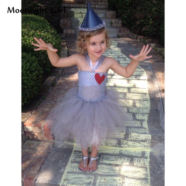 93b7247b23 Gray Tin Man Scarecrow Costume Girls Tutu Dress Heart Pattern Cosplay  Halloween Costume For Kids Baby Girl Party Dresses PQ074