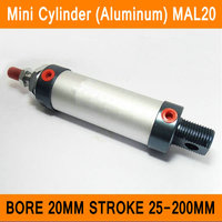MAL20 Mini Cylinder CA Bore 20mm Stroke 25 200mm Rod Single Double Action Pneumatic Cylinder Aluminum