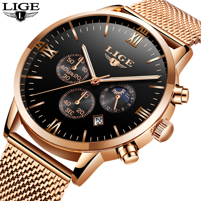 LIGE Watch Men Fashion Sports Quartz Clock Mens Watches Top Brand Luxury Full Steel Business Waterproof Watch Relogio Masculino men fashion quartz watch mans full steel sports watches top brand luxury cuena relogio masculino wristwatches 6801g clock
