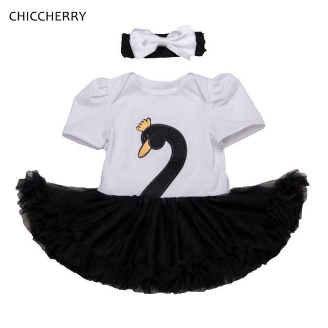 7c2d4a1b94e Black White Swan Lace Baby Girl Romper Bodysuit Dress + Headband 2PCS BEBE  Newborn Tutu Sets Children s Clothes Infant Clothing