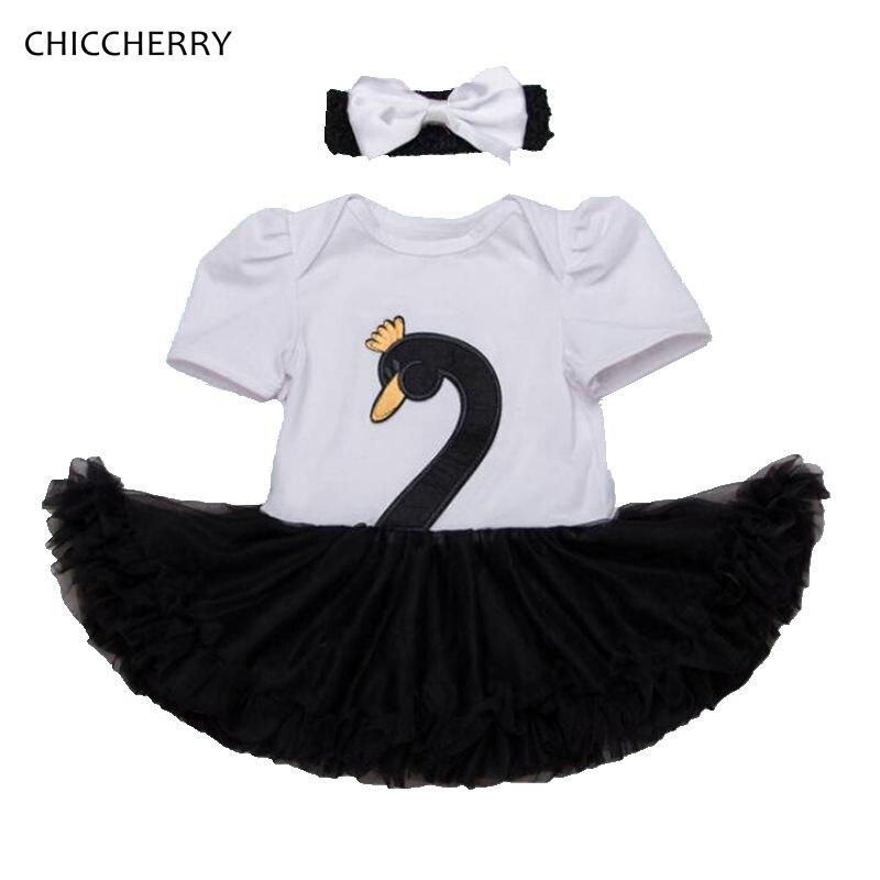8817c684a890e2 Czarny Biały Łabędź Dziecko Koronki śpioszki dziewczęce Body Sukienka +  Pałąk 2 sztuk BEBE Newborn Tutu Zestawy Ubrania Dla Dzieci Niemowląt odzież