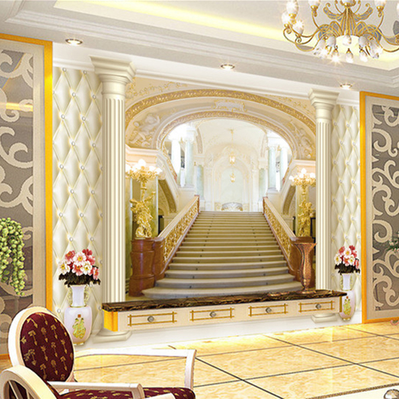 Custom Photo Wallpaper European Style Palace Stairs 3D Stereoscopic Expand The Space Modern Living Room TV Background Wall Mural