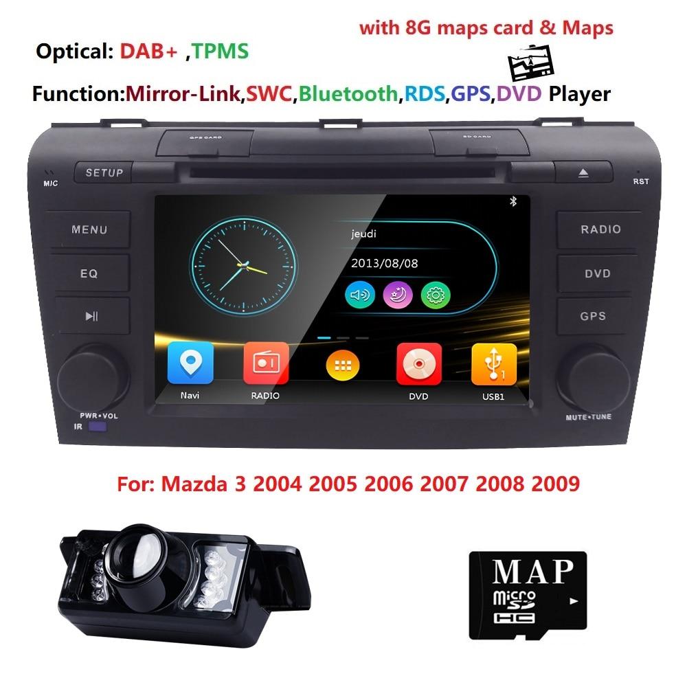 7 2 din AutoRadio Voiture DVD Stéréo Lecteur pour MAZDA3 MAZDA 3 2004 2005 2006 2007 2008 2009 Bande enregistreur Bluetooth GPS Navi 3g RDS