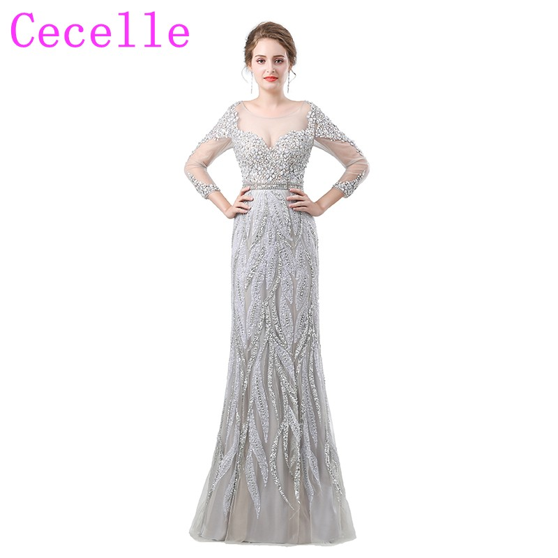 Silver Beading Crystals Long Luxury Prom Dress 2018 New Designer ...