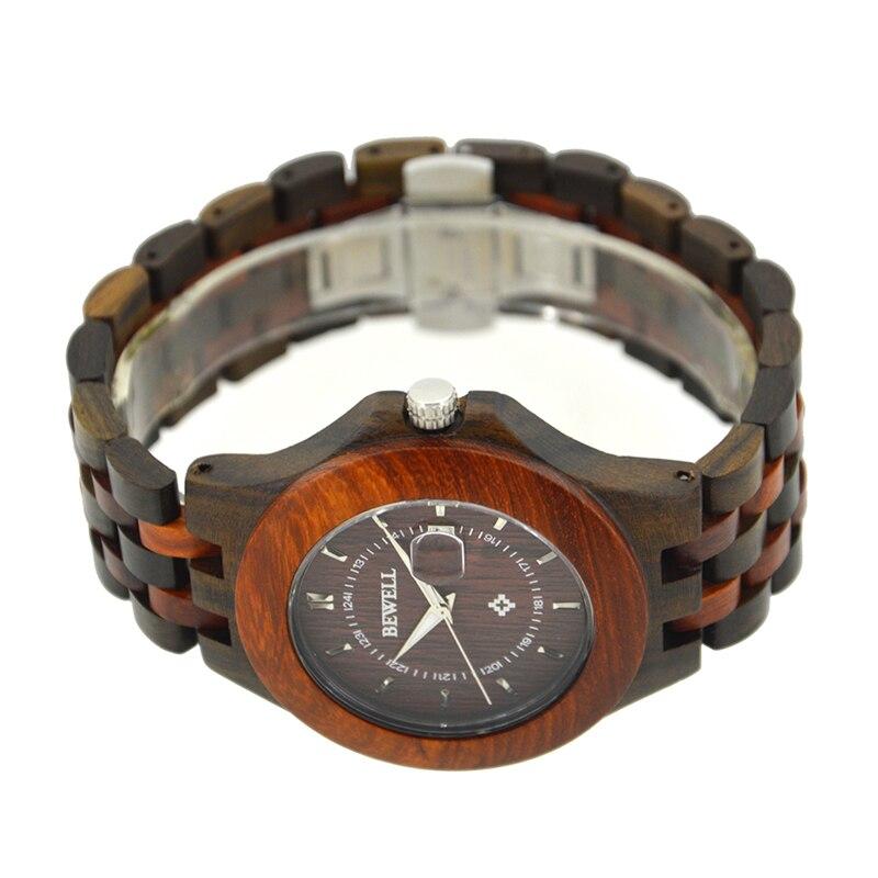 BEWELL Top Luxe Merk Heren Houten Horloges Heren Waterdicht quartz - Herenhorloges - Foto 3