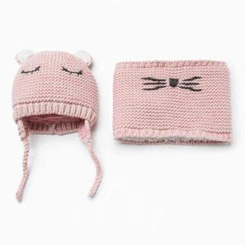 children's knitted hat scarf  for Baby girls Toddler Infant Baby Girl Warm Hat Winter Scarf for Children dropshipping 2pcs set baby toddler winter set cartoon wool knitting hat scarf warm set infant toddler girls boy knitted keep warm clothes set
